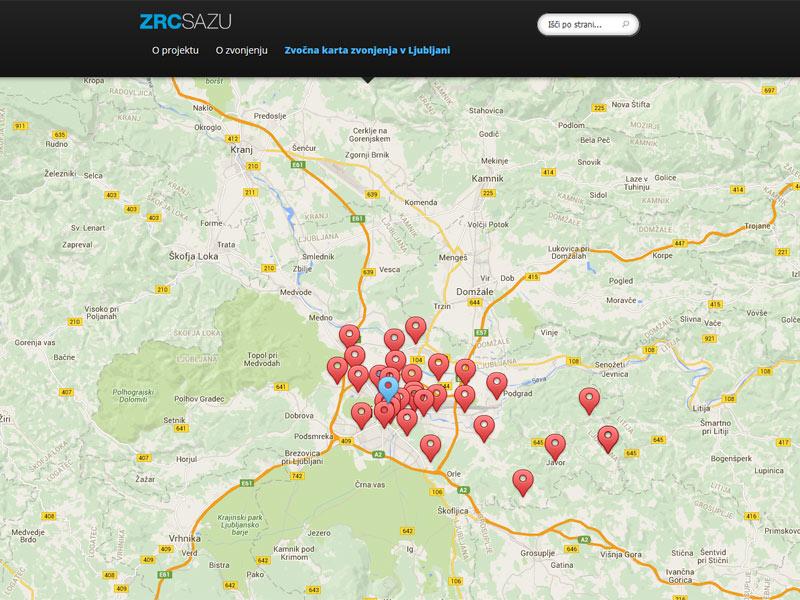 Zvočna karta zvonjenja v Ljubljani