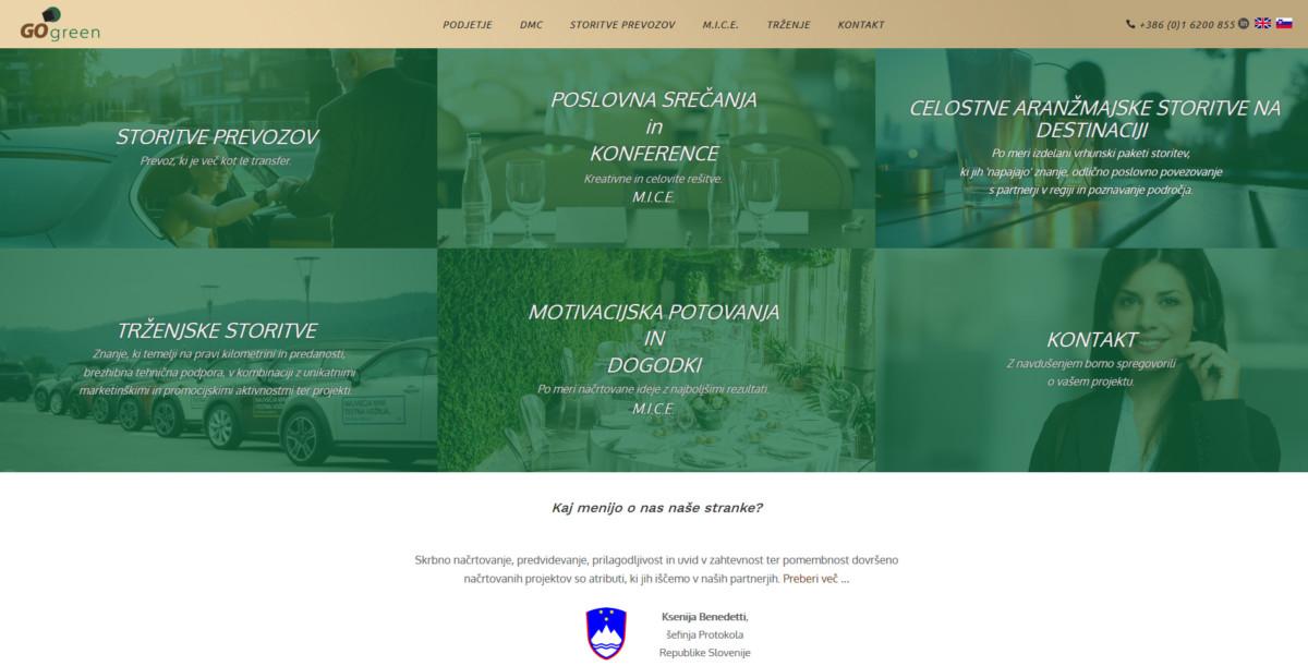 Go green – Storitev prevozov in transferjev. Organizacija dogodkov.